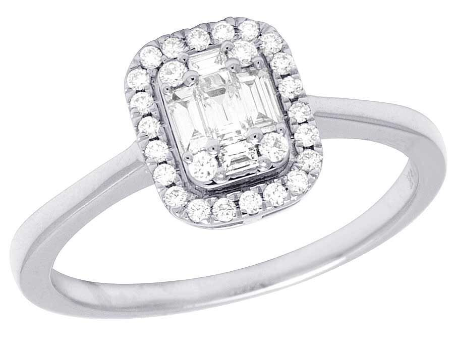 14K White gold Real Diamond Baguette Solitaire Halo Engagement Ring 2 5 Ct 9MM