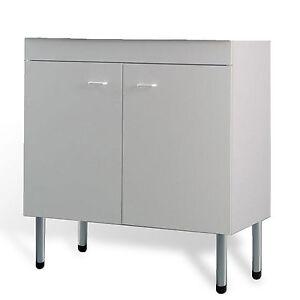 Mobile cucina sottolavello bianco 90x50 cm a 2 ante per lavelli in ...