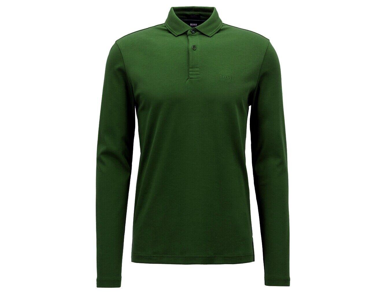 Sale Hugo Boss Pirol 50392723 348 Long Sleeves Mens Polo Shirt Grün Top