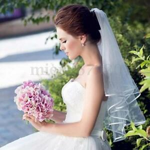 Image Is Loading 3t Ivory White Black Elbow Length Wedding Bridal