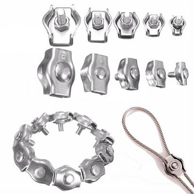 5X 04 Stainless Steel Wire Rope Grip U-Shaped Cable Clip Clamp M2 M3 M4 M5