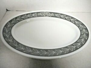 Pyrex Double Tough Grecian Gray White Chop Plate Oval Platter Laurel Vine Qty 6