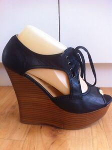 Ladies-Black-Leather-TONY-BIANCO-Wedges-AUS-Size-8-EU-39-Sandals-Platform