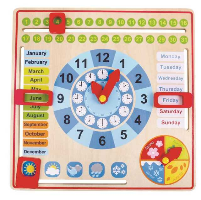 Wooden CALENDAR and CLOCK Days Months Date Seasons Time Kids by Tooky Toy