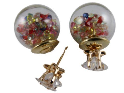 Doppelte Kugel Ohrringe Stecker Fake Plug Front Back gefüllt Straß Herzen Sterne
