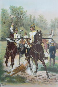 GERMAN-ARMY-Cuirassiers-Regiment-Excercises-with-Lance-1899-SUPERB-Color-Print