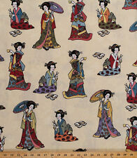Cotton Japanese Ladies Lady Geisha Asian on Cream Cotton Fabric BTY D572.15