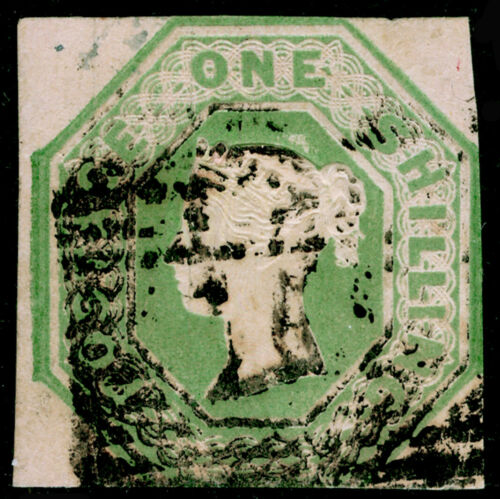SG54, 1s pale green, CUT SQUARE, USED. Cat 1000.