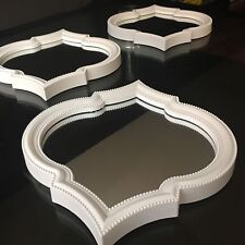 SET OF 3 White MOROCCAN ART DECO Arched Wall MIRRORS WALL ART Moroccan MIRROR