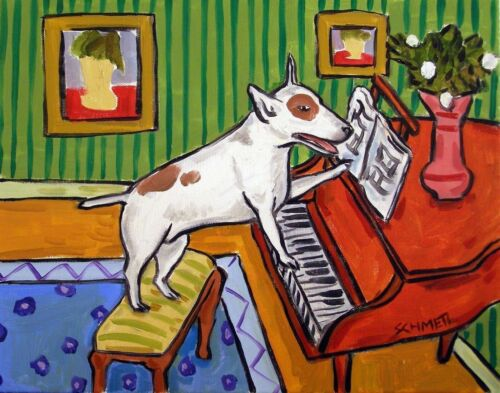 Bull terrier playing piano  dog art print 4x6 gift modern colorful
