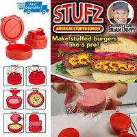 STUFZ Stuffed Burger Press Hamburger Grill BBQ Patty Maker Juicy As Seen New TV