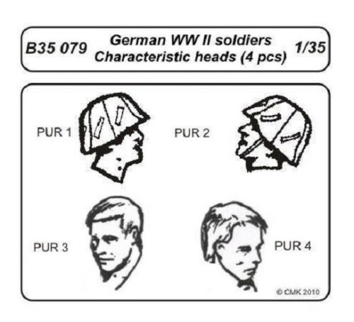 CMK B35079 WWII German Soldiers Head in 1:35 4x