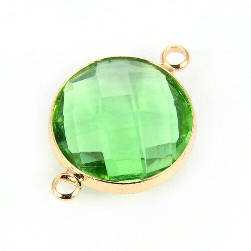 Shiny Round Crystal Loose Beads Double Hole Pendant Connector Female Bracelet