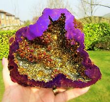 Rainbow Aura Quartz Geode Violet Flame Crystal Gift 915g X Large AAA+ Quality