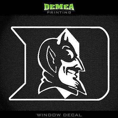 NCAA DUKE BLUE DEVILS WHITE VINYL STICKER DECAL
