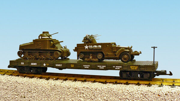 USA Trains R1780 US Army Series Flat Car With M3 Lee And M16 G Scale