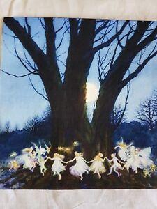 Quilting-Panel-Fee-Baum-Fairy-Dance-Baumwolle-Leinen-Mond-Kinder-Patch