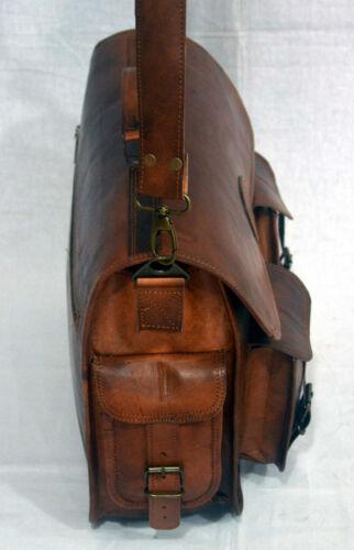 """15/""""Men/'s Genuine Vintage Brown Leather Messenger Shoulder Laptop Bag Briefcase"""