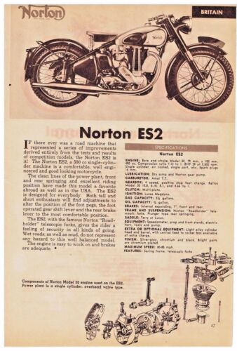 NORTON ES2 and  PANTHER 100 MOTORCYCLES Specifications and Description 1951 AD