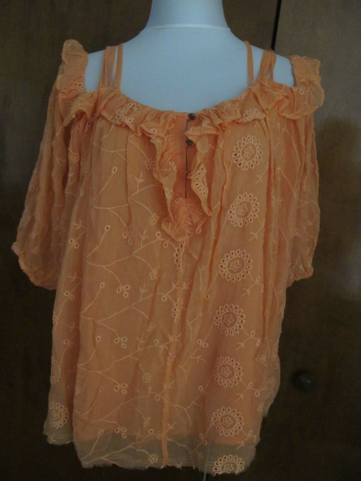 Anthropologie Floreat damen Maryana Orange Open Shoulder Blouse XS S M LXL NWT