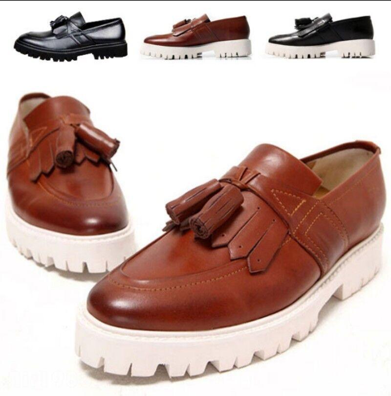 Mens Fashion Slip On Korea Tassel Loafers shoes Wedge Heel Oxfords Formal Pumps