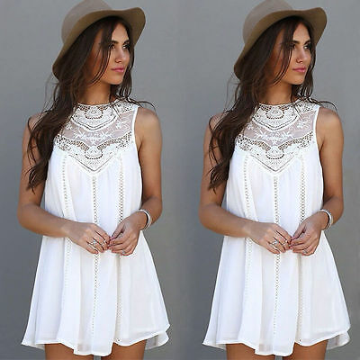 New Fashion Women Summer White Lace Sleeveless Cocktail Evening Party Mini Dress