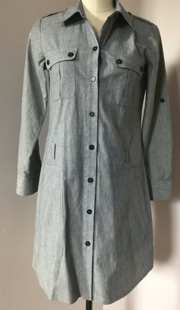4b00612234e869 Theory Gray 100% Cotton Long Sleeve Button Up Shirt Dress Size 0