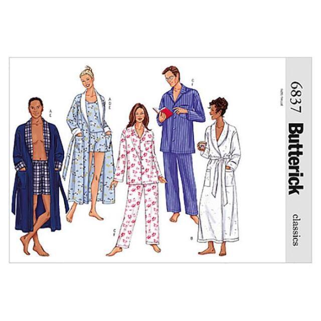 Butterick Easy Sewing Pattern Unisex Robe Belt Top Shorts & Pants XS ...