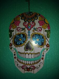 Details About Day Of The Dead Sugar Skull Wall Hanging Decoration 13 X 8 Wooden