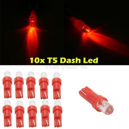 10x T5 Instrument Cluster Panel Gauge Dash LED bulbs light 37 73 74 Red