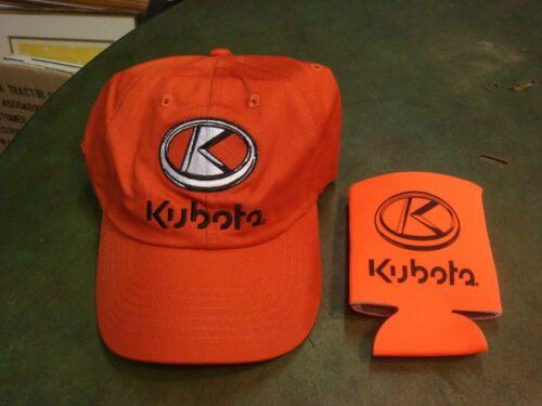 Kubota Advertising K Products Cap Hat Adjustable Strap Orange /& Koozie Lot
