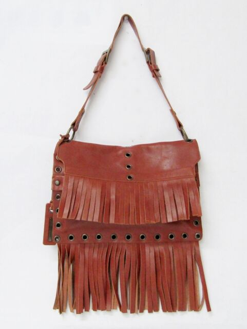 New DOLCE & GABBANA FRINGE SHOULDER BAG LEATHER RUST BROWN BRASS SMALL