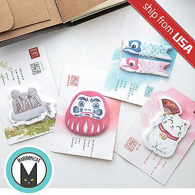 Lot 4pcs Japan Lucky Cat Daruma Doll Carp flag Kawaii Cute Memo Pad Sticky Notes