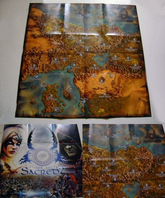 Sacred 2 Fallen Angel Poster Map 50 x 50 cm game gioco mappa