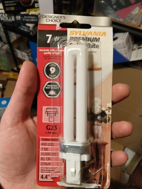 4 Pack G23 Base Sylvania 20327 CF7DS//827 7w Dulux S 2-Pin Compact Fluorescent 2700K