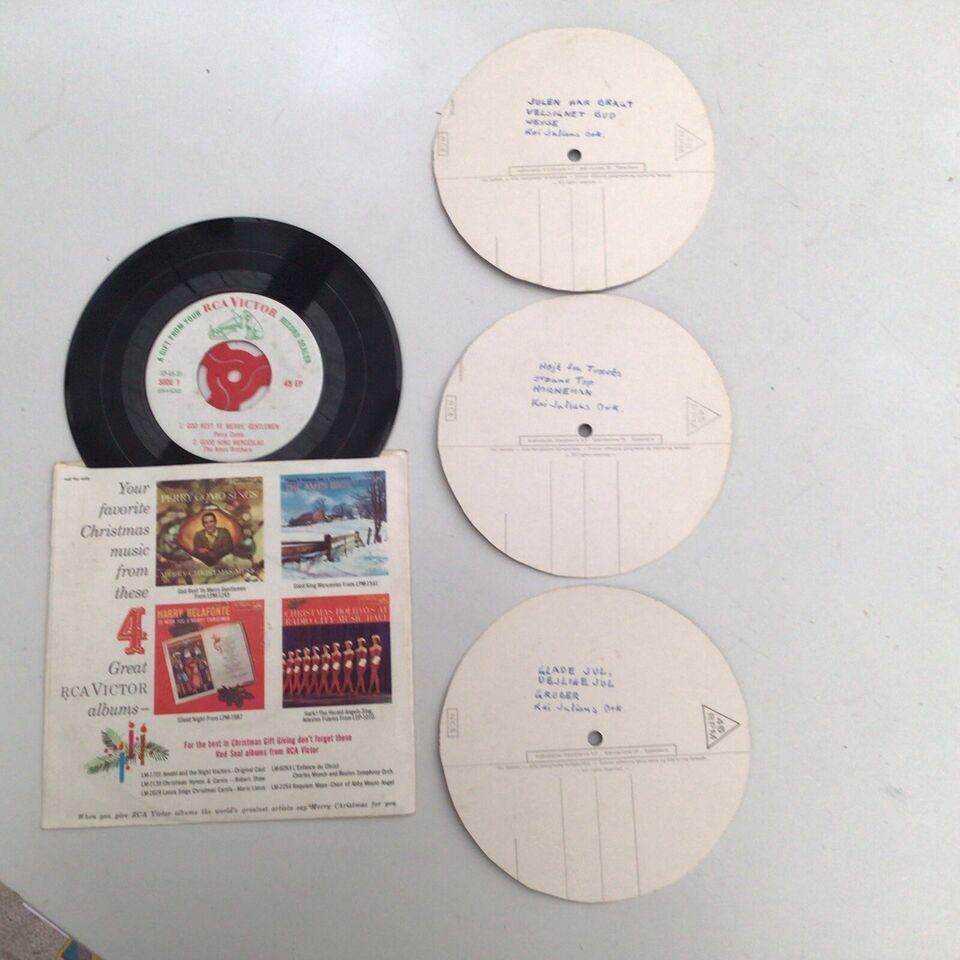 4 vintage single grammofonplader