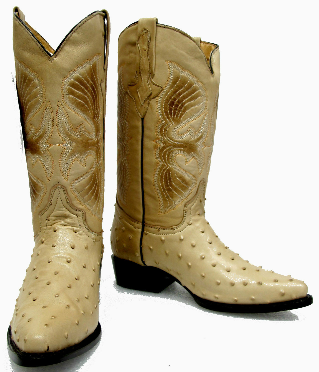 Men's New Ostrich Quill Design Leather Cowboy Western Rodeo Boots J Toe Tan
