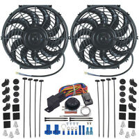 Double 12 Inch Electric Radiator Fan-s Adjustable Temp Thermostat Control Kit