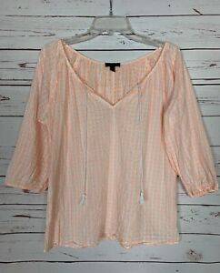 J-Crew-Women-039-s-S-Small-White-Neon-Coral-Cute-Spring-Peasant-Top-Blouse-Shirt
