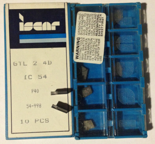 ISCAR GTL 2 4D IC 54 P40 Carbide Inserts Grooving 10 Pcs Lathe Self Grip Cut-Off