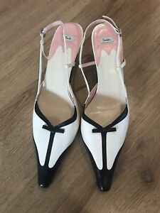 White Sling Back Low Heel Shoes Size