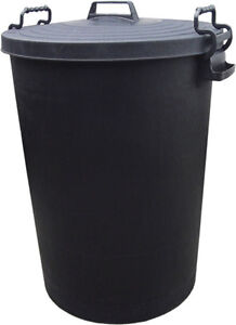 110l Outdoor Waterproof Rubbish Waste Trash Can Plastic Bin W Clip