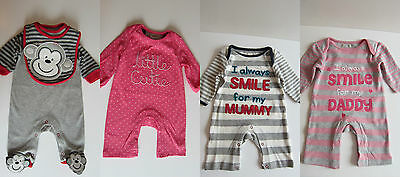 BHS ALL IN ONE SLEEPSUIT BABYGROW- SMILE 4 MUMMY / DADDY CHEEKY MONKEY PINK CUTI