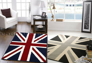 Large Union Jack Rug Traditional Red White Blue Or