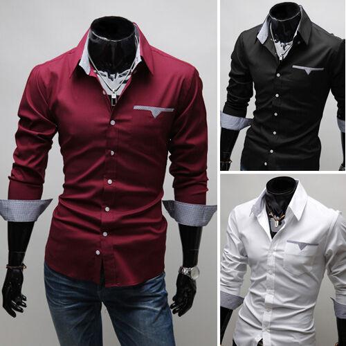 New Fashion Mens Luxury Long Sleeve Casual Slim Fit Stylish Dress Shirts 3-Color