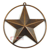 9 1/2 Texas Metal Barn Star Smooth Ring Brushed Copper Finish Wall Mounted
