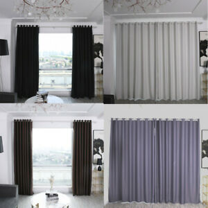Details about Solid Color Blackout Curtain Office Bedroom Balcony  Insulation Curtain Fabric