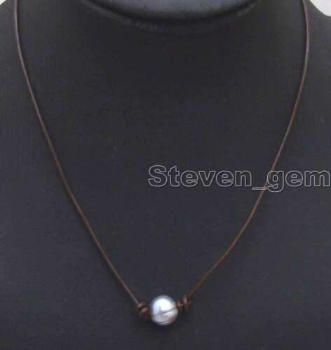 """SALE 10-11mm Gray Potato Natural FW Pearl Necklace 18/"""" brown Genuine Leathe-5906"""