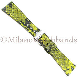 20mm-Glam-Rock-Chartreuse-amp-Black-Handmade-Gen-Italian-Leather-Python-Grain-Band
