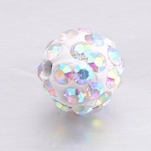 Free Ship New 20pcs Boule Disco Pave CZ Crystal Spacer Beads Pour Bracelet 8-12 mm